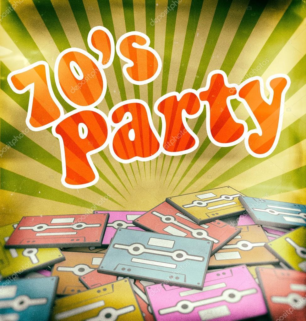 70s music party vintage poster design Retro — Stock Photo