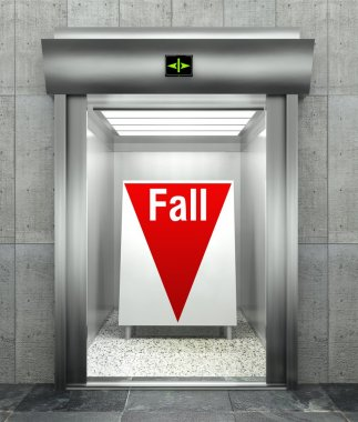 Business fall. Modern elevator with red down arrow
