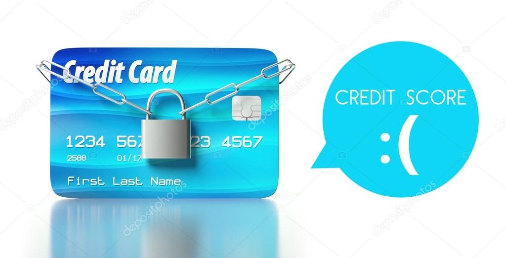 Credit Cards For Bad Credit >> Poor Credit Score Card With Padlock And Chain Stock Photo