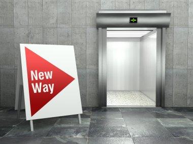 New way. Modern elevator with open door