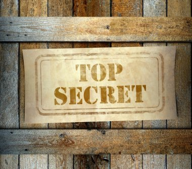 Stamp Top Secret label old wooden box