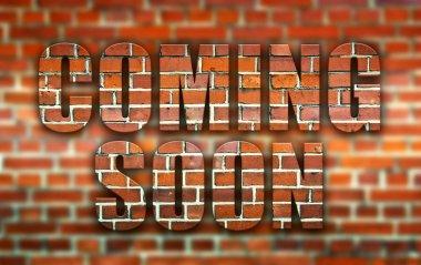 Coming soon made of bricks creative illustration