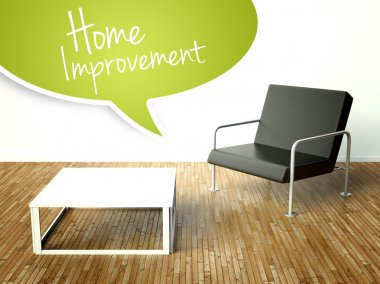 3d Home improvement with table and armchair