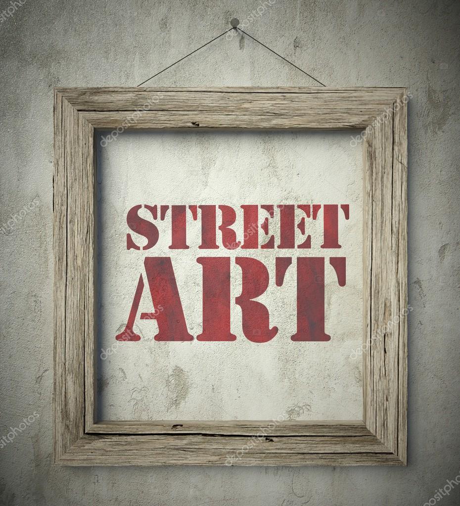 arte callejero en marco de madera vieja en pared — Foto de stock ...
