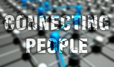 Connecting people concept, network background