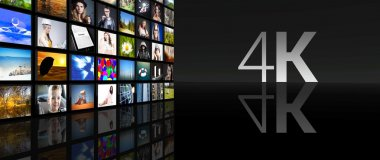 4K Television screens black background