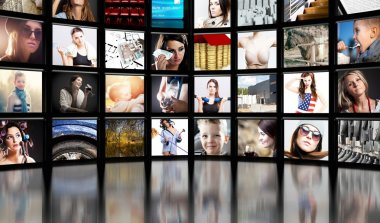 Television screens, black background