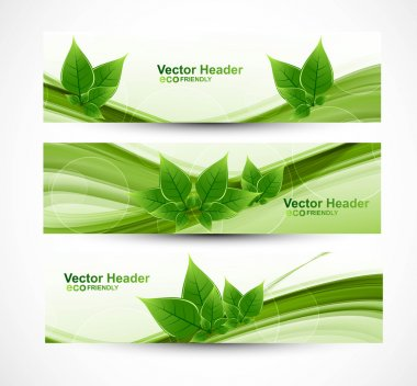 Abstract header natural eco green lives wave vector