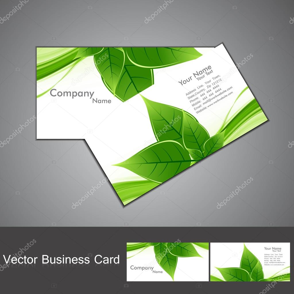 Abstract green lives colorful stylish business card set vector