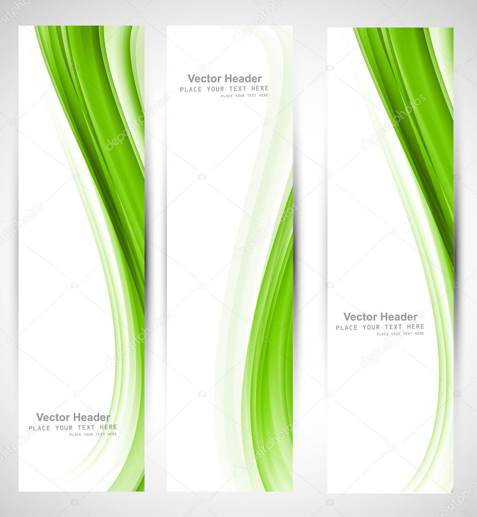 Abstract vertical header green wave vector