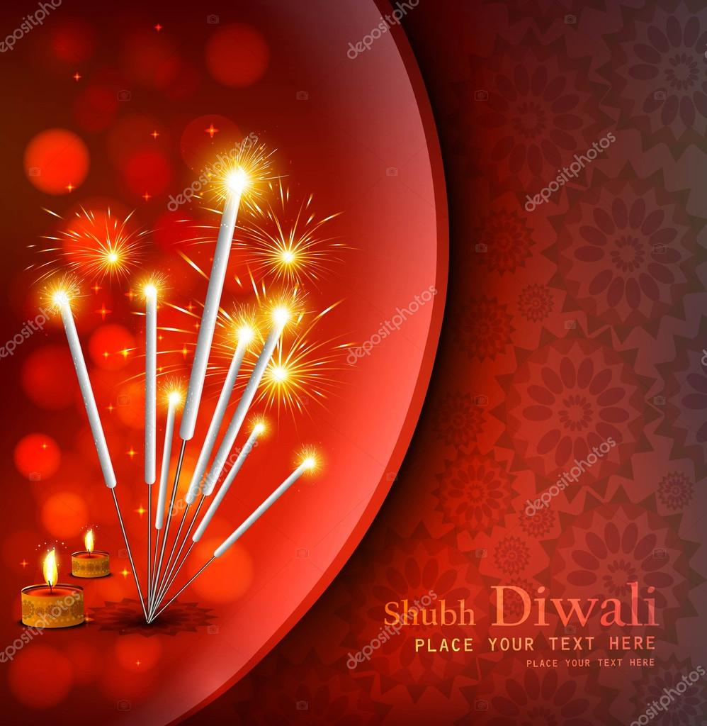 happy diwali festival crackers bright red colorful background stock vector