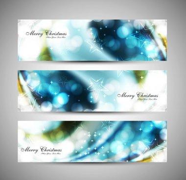 merry christmas celebration blue header set vector
