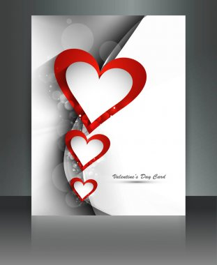 Valentine Days heart brochure wave card background illustration