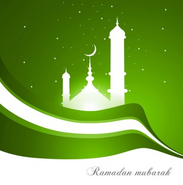 abstract bright green colorful wave ramadan kareem