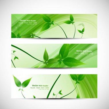 abstract header natural eco green lives wave vector