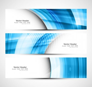 Website header colorful blue banner set vector design