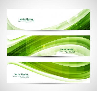 Abstract business three green wave header whit vector