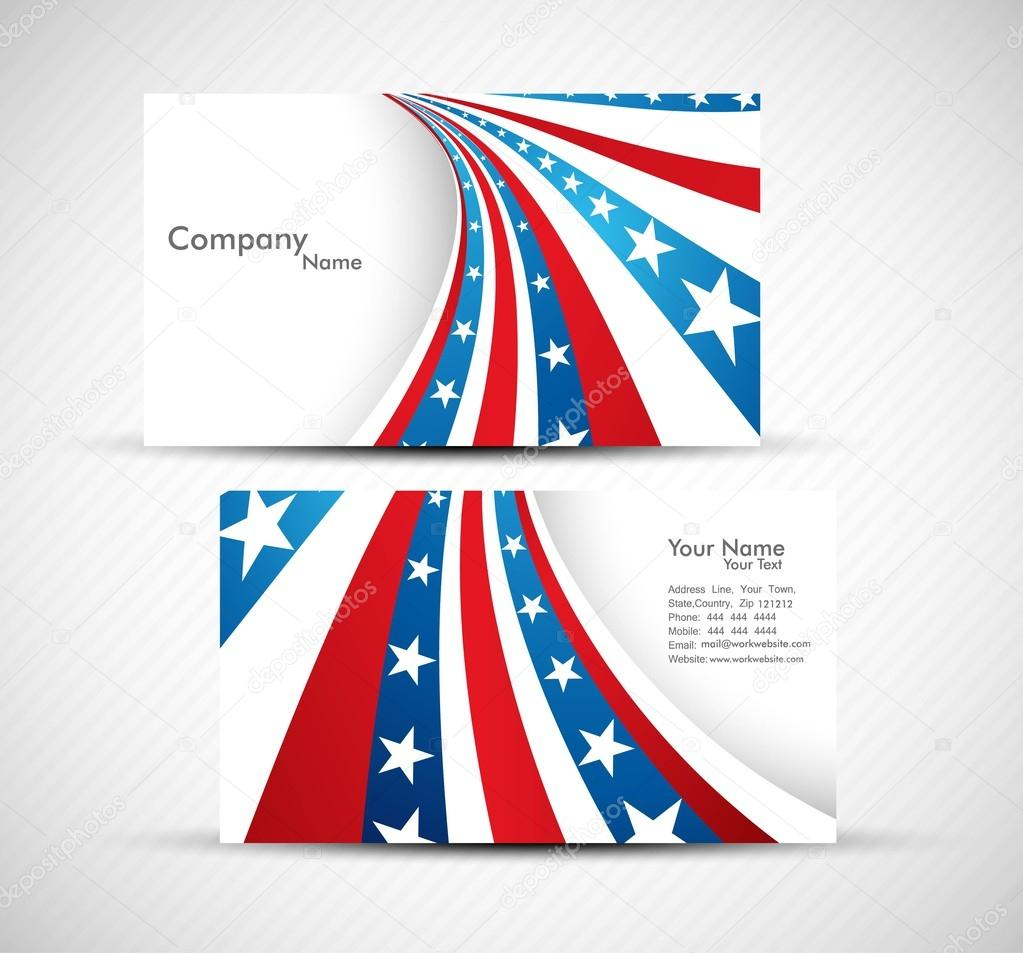 American Flag 4th july business card set design vector — Stock ...