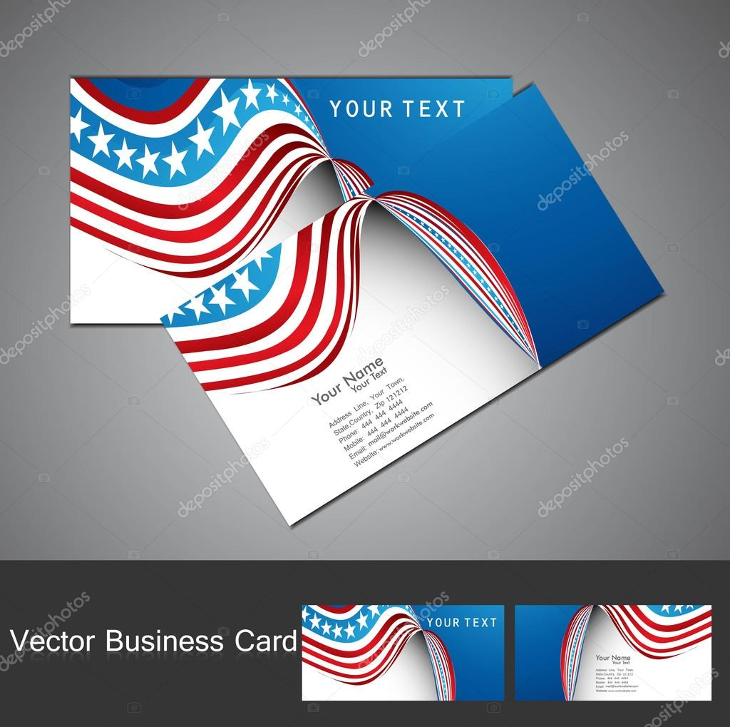 American Flag 4th july business card set wave design vector illu ...