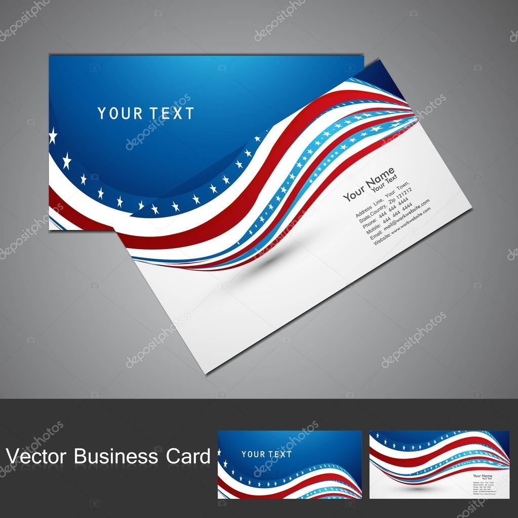 American Flag 4th july business card set wave design vector — Stock ...