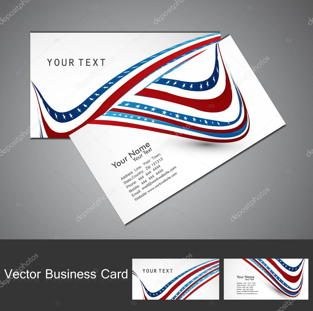 American Flag 4th july business card set wave white vector illus ...