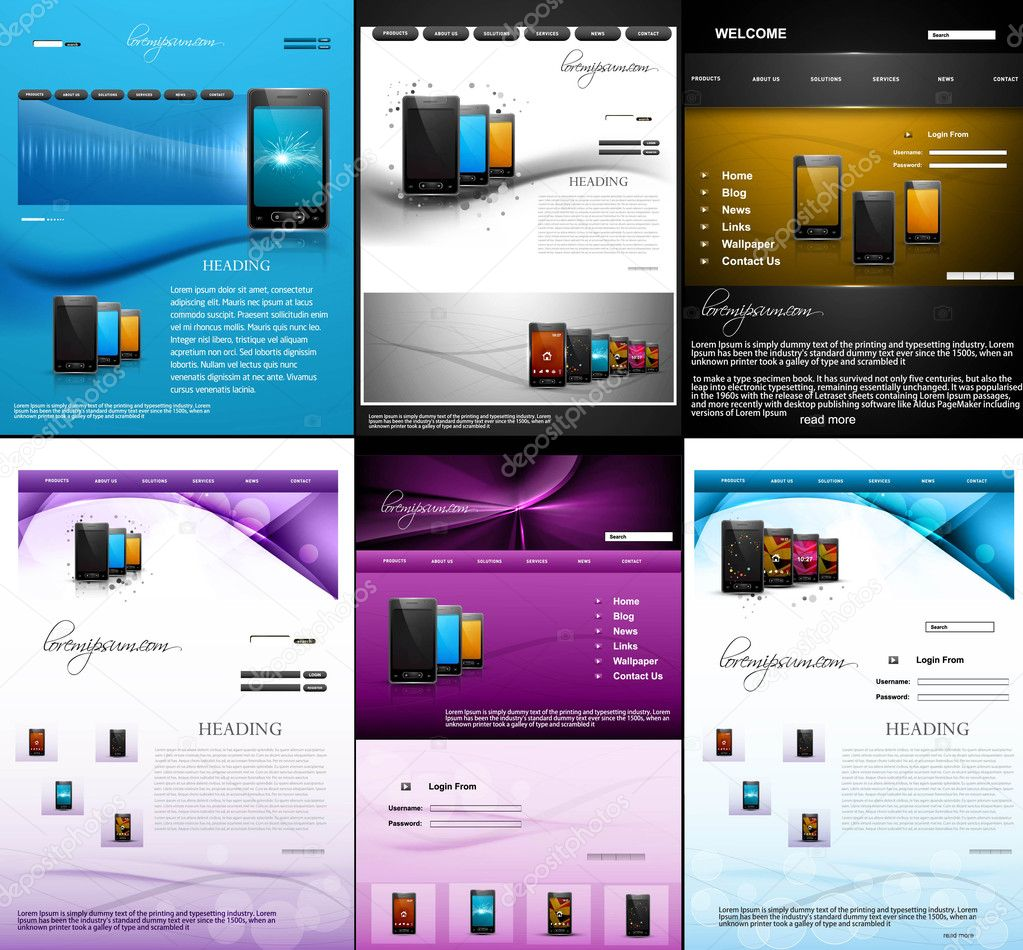 website template mobile phone presentation collection colorful d stock vector bharat28 26526605