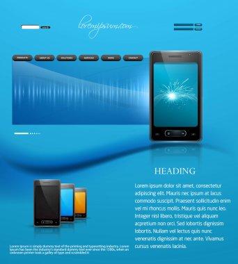 Website template presentation mobile phone blue colorful design