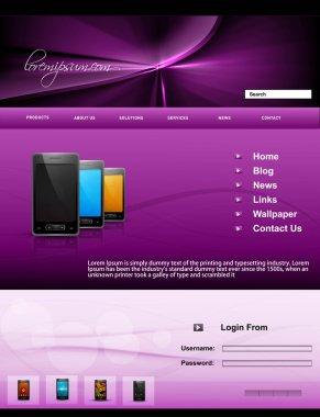 Mobile phone website template presentation bright colorful vecto