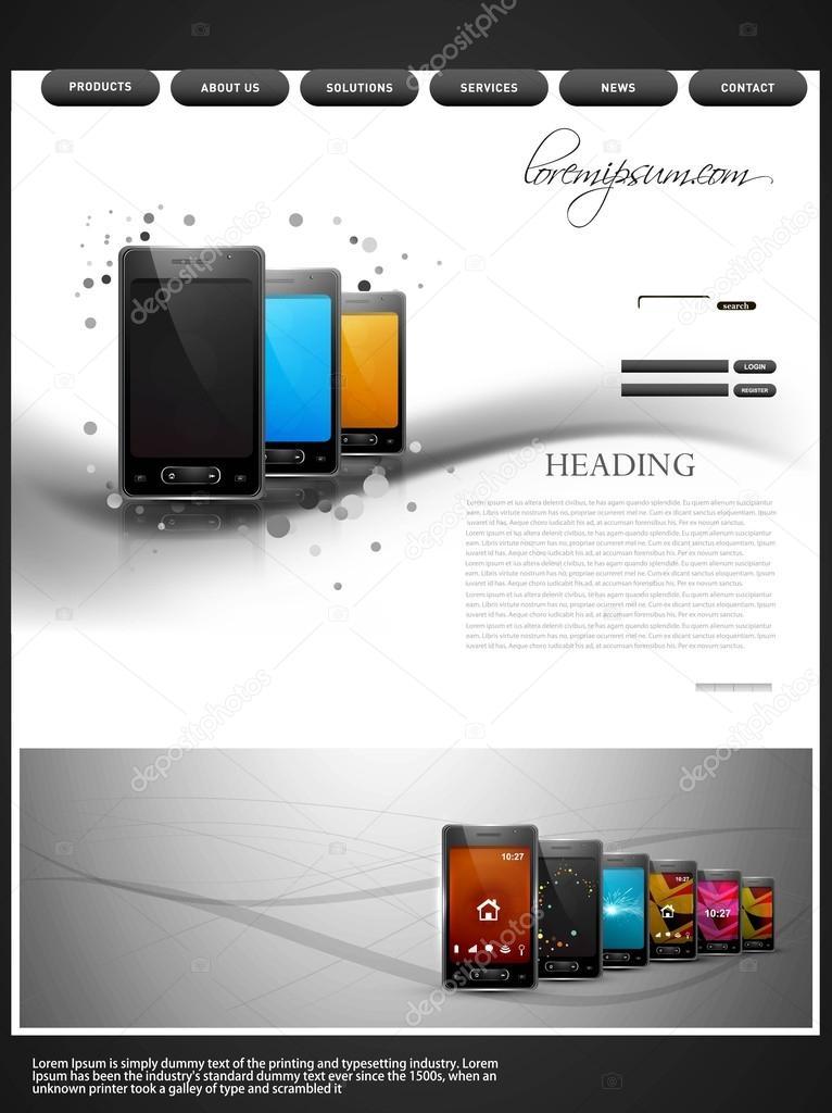Website template presentation wave mobile phone colorful design ...