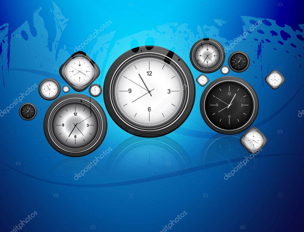 4bd61389ba7 vetor de relógio fundo colorido azul — Vetores de Stock © bharat28 ...