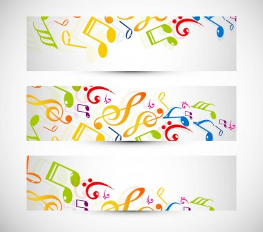 abstract music notes colorful header vector illustration
