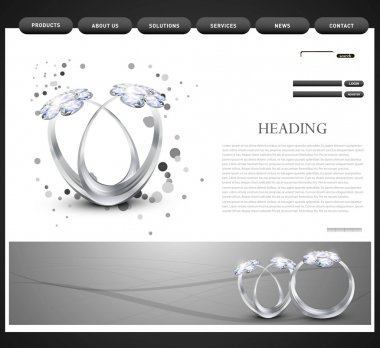 Website template presentation Diamond ring vector design