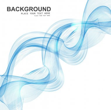 Abstract Set of blend blue colorful line smoke wave vector
