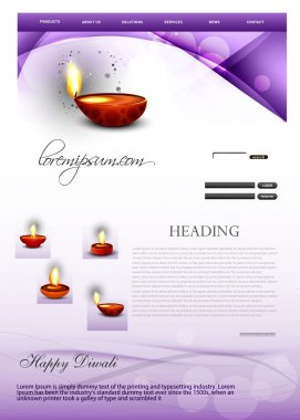 Deepawali diwali diya bright colorful wave website template vec
