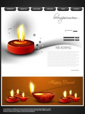Beautiful happy diwali colorful hindu festival website template