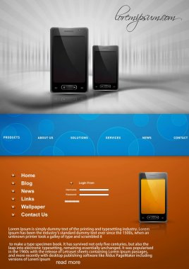 Mobile phone website template bright colorful vector