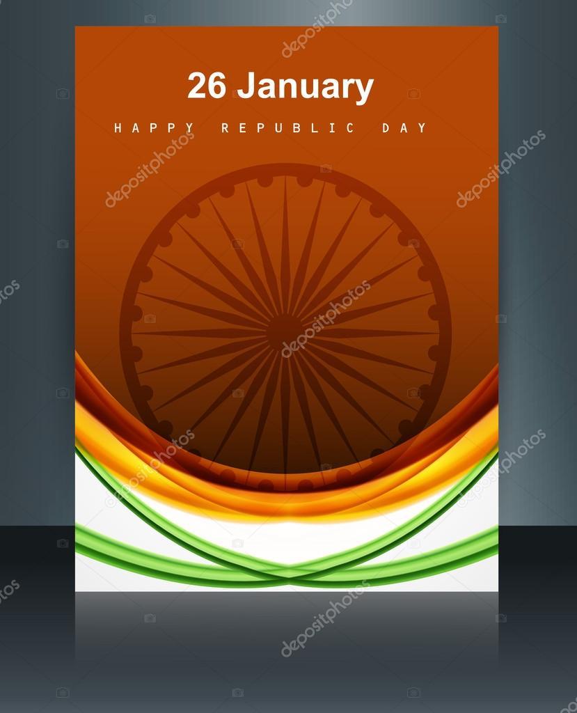 brillante hermosa bandera India onda fondo plantilla folleto re ...