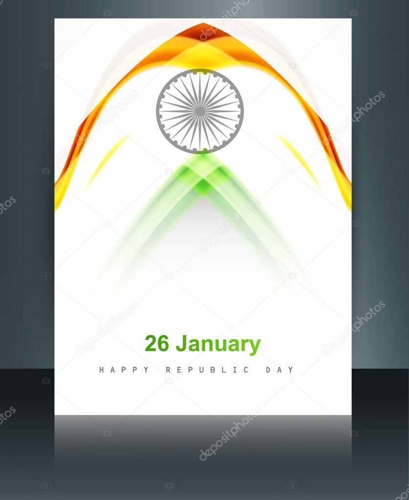 plantilla de folleto tricolor bandera india hermosa República día fo ...