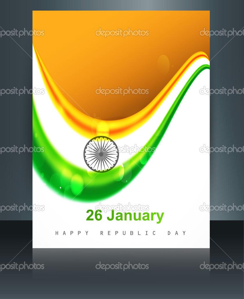 Ilustración de plantilla folleto para inde la onda bandera India con ...