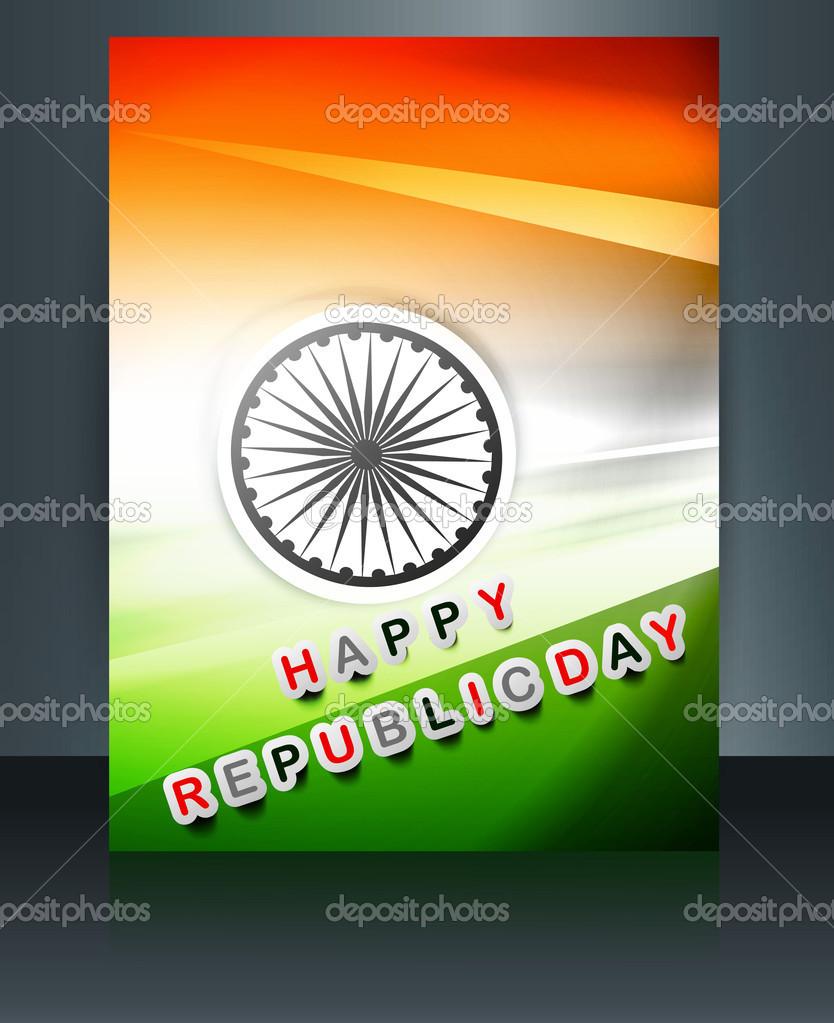 plantilla de bandera India República día folleto vector diseño ...