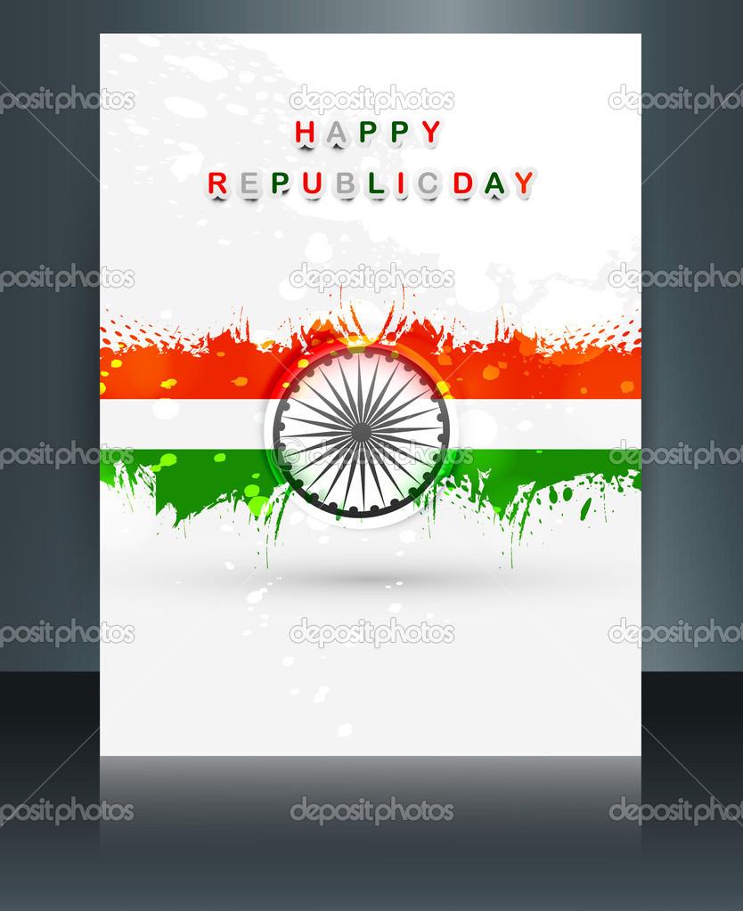 plantilla de folleto de día República para la tricolor bandera India ...