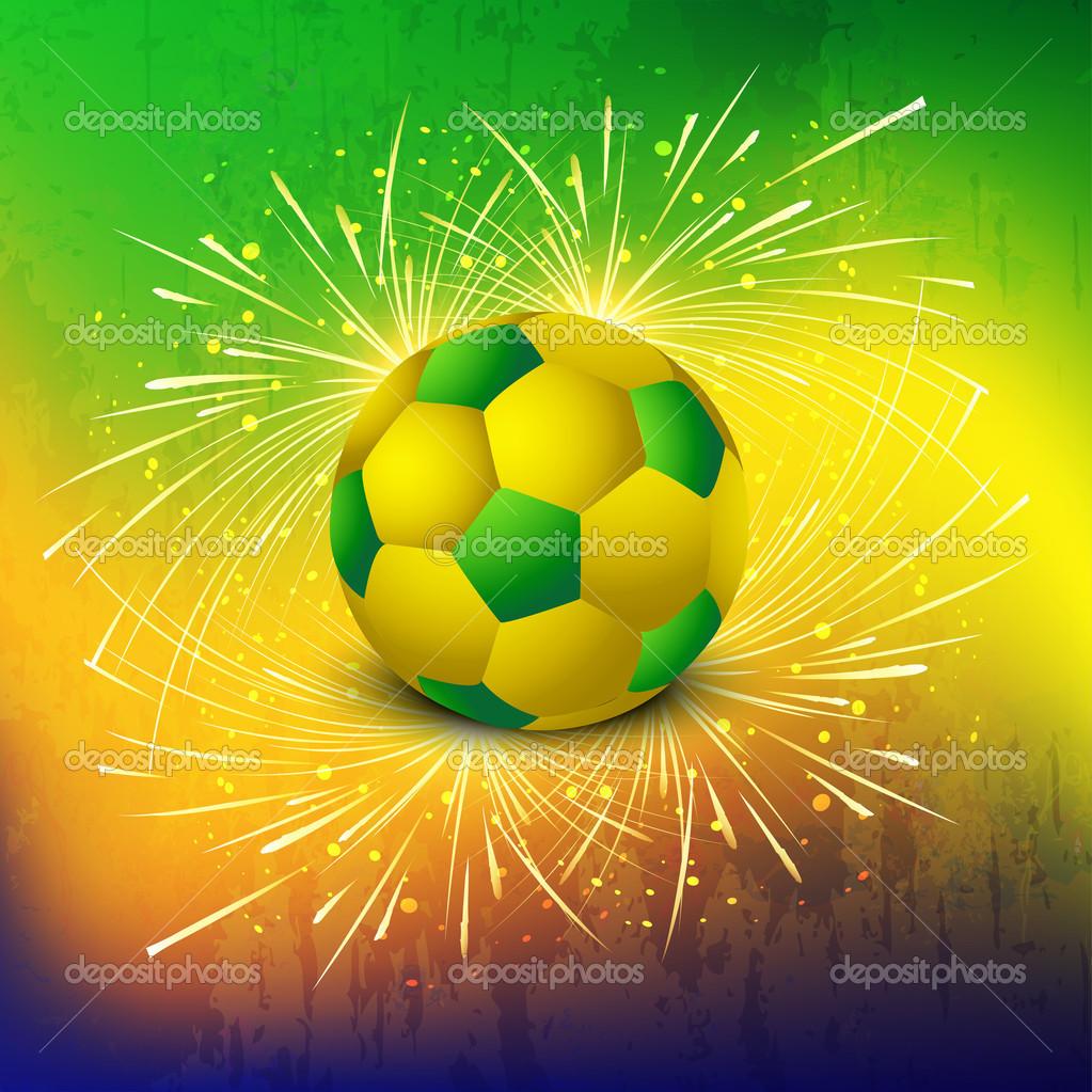 Balón de fútbol con brasil colores concepto celebración fondo View — Vector  ... 4c12679bd550c