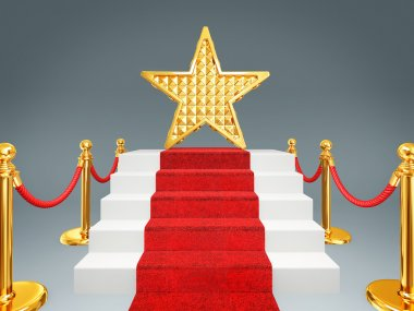 Gold star on a red carpet. 3d image