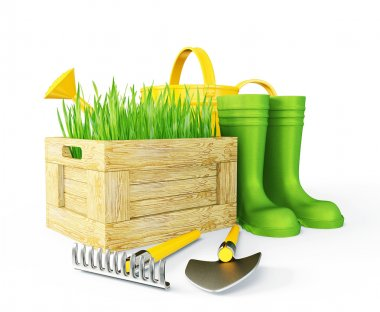 Gardening tools isolated on a white background stock vector