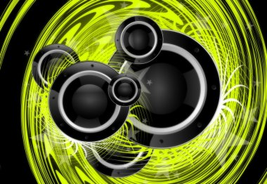 Cool Green Music Vortex Background Design with Large Black Speakers. stock vector