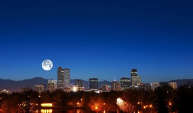Denver Skyline with Moon
