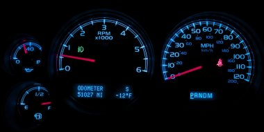 Car Dash Instruments on Black