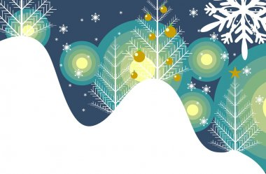 Winter Abstract Illustration. Snowy Hills and Trees with Ornaments. stock vector