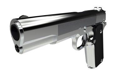 Handgun 3D illustration Isolated on Solid White Background. stock vector