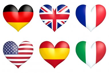 nation hearts - Germany, Great Britain, France, USA, Spain and Italy